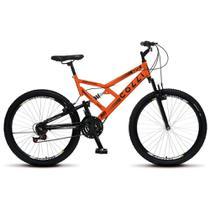 Bicicleta Bike Aro 26 Dupla Suspensão Freio Vbreak 21 marchas Masculina Feminina - Laranja Neon - Colli Bike