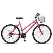Bicicleta Bike Aro 26 Feminina Adulto Allegra City MTB 18 marchas Freios vbreak com cesta - Pink - Colli