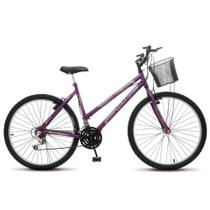 Bicicleta Bike Aro 26 Feminina Adulto Allegra City MTB 18 marchas Freios vbreak com cesta - Violeta - Colli