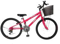 Bicicleta cairu 24 feminina mtb reb 18m bella girl c/c rosa -