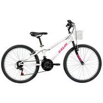 Bicicleta Caloi Ceci Aro 24, Freio V-Brake, 21 Marchas Branca com Cesto -