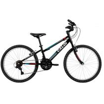 Bicicleta caloi forester aro 24 21v preto/azul/vermelho -