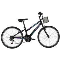 Bicicleta caloi sweet aro 24 21v preto/azul/roxo -