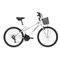 Bicicleta Caloi Ventura 21 Marchas Aro 26 Branca E Lilás Com Cesto -