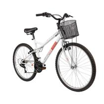 Bicicleta Caloi Ventura Aro 26, 21 Marchas, Com Cesto, Freio V-Brake, Branco -