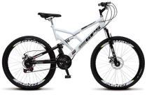 Bicicleta Colli Dupla Susp. Branco Aro 26 36 Raias 21 Marchas Freios a Disco -