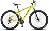 Bicicleta Colli MTB High Performance Amarelo Neon Aro 29 Alum. Kit Shimano 21M Susp. Dianteira Freios a Disco -