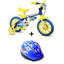 Bicicleta Criança De 3 A 5 Anos Aro 12 Menino Shark Com Capacete Nathor -