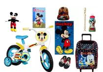 Bicicleta Do Mickey  Mochila C/ Rodinhas  8 Itens - Disney