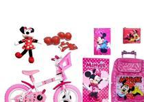 Bicicleta Do Minnie  Mochila C/ Rodinhas  7 Itens - Disney