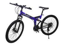 Bicicleta Dobravel 21 Marchas Aro 26 Freio Disco Azul e Preta - Soldier