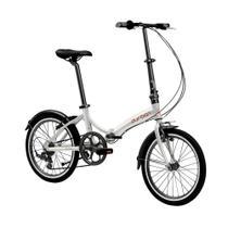 Bicicleta dobrável aro 20 com 6 marchas shimano quadro de aço carbono prata - RIO (Prata) - Durban