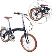 Bicicleta dobrável aro 20 com 6 marchas shimano quadro de aço - ECO+ - Durban -
