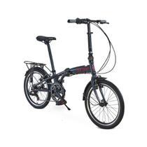 Bicicleta dobrável aro 20 com 6 marchas shimano quadro de alumínio azul - Sampa Pro (Azul) - Durban