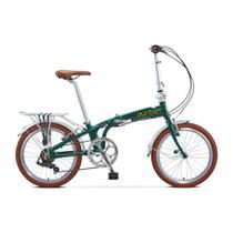 Bicicleta dobrável aro 20 com 6 marchas shimano quadro de alumínio verde - Sampa Pro (Verde) - Durban