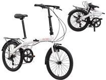 Bicicleta Dobrável Aro 20 Durban Eco+ 6 Marchas Branca + Bagageiro -