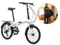 Bicicleta Dobrável Aro 20 Durban Eco+ 6 Marchas Branca + Bolsa De Transporte -