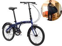 Bicicleta Dobrável Aro 20 Durban Eco Azul + Bolsa De Transporte -