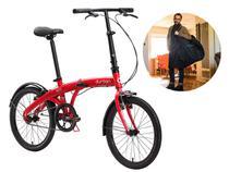 Bicicleta Dobrável Aro 20 Durban Eco Vermelha + Bolsa De Transporte -