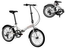 Bicicleta Dobrável Aro 20 Durban Rio 6 Marchas Prata + Bagageiro -
