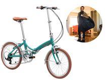 Bicicleta Dobrável Aro 20 Durban Rio 6 Marchas Turquesa + Bolsa De Transporte -