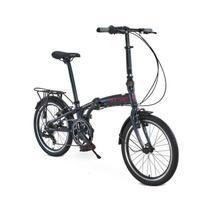 Bicicleta Dobrável Aro 20 Durban Sampa Pro 6 Marchas Azul + Bagageiro - Nautika