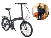 Bicicleta Dobrável Aro 20 Durban Sampa Pro 6 Marchas Azul + Bolsa De Transporte -