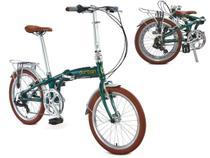 Bicicleta Dobrável Aro 20 Durban Sampa Pro 6 Marchas Verde + Bagageiro -