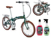 Bicicleta Dobrável Aro 20 Durban Sampa Pro 6 Marchas Verde Com Bagageiro + Kit Limpeza -