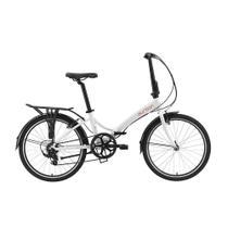 Bicicleta dobrável aro 24 com 6 marchas shimano quadro de alumínio branca - Rio XL (Branco) - Durban