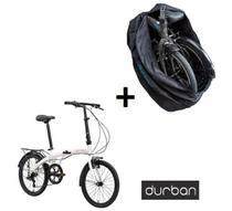 Bicicleta Dobravel Durban Eco+ Branca aro 20 com Bolsa de Transporte - Nautika