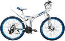 Bicicleta dobrável mountain bike aro 26 marca MEANT - Branco/Azul - Bicimoto