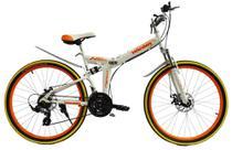 Bicicleta dobrável mountain bike aro 26 marca MEANT - Branco/Laranja - Bicimoto
