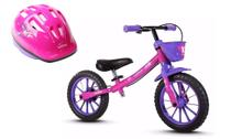 Bicicleta Equilíbrio Balance Bike Menina + Capacete Nathor -