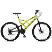 Bicicleta Esportiva Aro 26 Dupla Suspensão Freio a Disco GPS 220 Quadro 18 Aço Amarelo Neon - Colli Bike -
