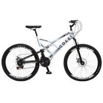 Bicicleta Esportiva Aro 26 Dupla Suspensão Freio a Disco GPS 220 Quadro 18 Aço Branco - Colli Bike -