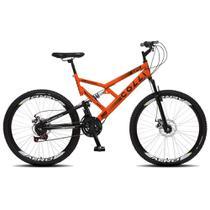 Bicicleta Esportiva Aro 26 Dupla Suspensão Freio a Disco GPS 220 Quadro 18 Aço Laranja Neon - Colli Bike -