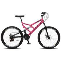 Bicicleta Esportiva Aro 26 Dupla Suspensão Freio a Disco GPS 220 Quadro 18 Aço Rosa Neon - Colli Bike -