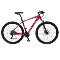 Bicicleta Esportiva Aro 29 Shimano 21 Marcha Suspensão Freio a Disco F11 Quadro 18 Alumínio Preto/Pink - Colli Bike -