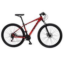 Bicicleta Esportiva Aro 29 Shimano 21 Marcha Suspensão Freio a Disco F11 Quadro 18 Alumínio Preto/Vermelho - Colli Bike -