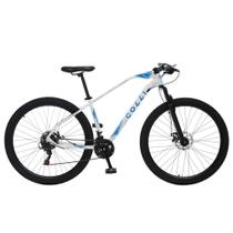 Bicicleta Esportiva Aro 29 Shimano 21V Suspensão Freio a Disco Duster Quadro 17 Alumínio Branco/Azul - Colli Bike -