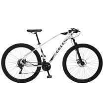 Bicicleta Esportiva Aro 29 Shimano 21V Suspensão Freio a Disco Duster Quadro 17 Alumínio Branco - Colli Bike -