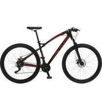 Bicicleta Esportiva Aro 29 Shimano Suspensão Freio a Disco Toro Quadro 18 Alumínio Preto/Vermelho - Colli Bike -
