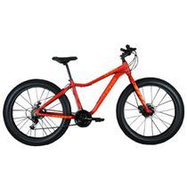 Bicicleta Fat Bike Pneu Largo Aro 26 Alumínio 21V Freio a Disco Laranja - Elleven