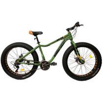 Bicicleta Fat Bike Pneu Largo Aro 26 Alumínio 21V Freio a Disco Verde - Elleven