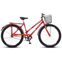 Bicicleta Feminina Adulto Aro 26 Colli Fort com cesta e garupa para passeio sem marchas - Vermelho -
