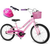 Bicicleta Feminina Aro 20 Rosa Bella com Capacete Rosa e Bomba de Ar - Nathor
