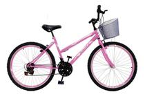 Bicicleta Feminina Aro 24 18 Marchas Com Cesta - Rosa - Samy