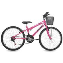 Bicicleta Feminina Aro 24 MTB Q13 21V Fantasy com Cesta Mormaii -