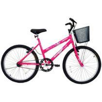 Bicicleta Feminina Aro 24 Rosa Bella Com Cesta Cairu - 310937 -